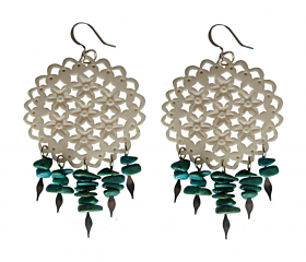 Filigree White Carved Indian Bone and Turquoise Dangle Statement Earrings
