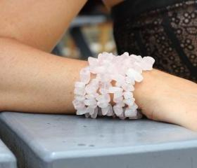 Genuine Rose Quartz 5 Strand Statement Bracelet