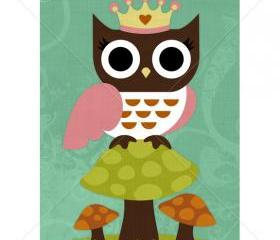 49R Retro Princess Owl 5 x 7 Print