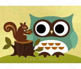 50R Retro Owl with Squirrel Print 5x7