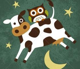 51R Retro Owl and Cow Jumping over Moon 6 x 6 Print