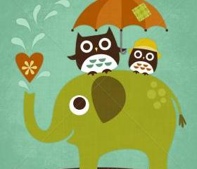 53R Retro Owls on Elephant 6 x 6 Print