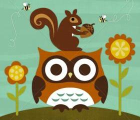 54R Retro Owl in Nature 6 x 6 Print