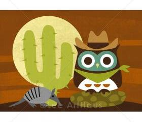 55R Retro Owl in Desert 5 x 7 Print