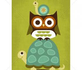 57R Retro Turtle, Owl and Snail 5 x 7 Print