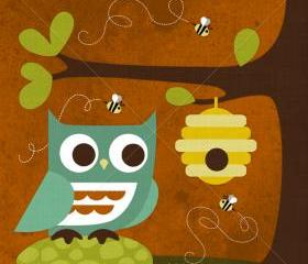 62R Retro Owl and Beehive 6 x 6 Print