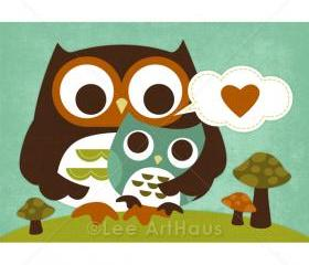 63R Retro Mom Hugging Baby Boy Owl 5 x 7 Print