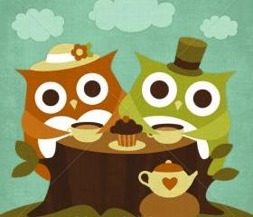 64R Retro Owl Tea Time 6 x 6 Print