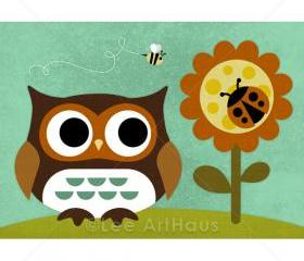 65R Retro Owl and Ladybug 5 x 7 Print