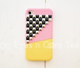 iPhone 4 case - Color Block Stud - Pink / Yellow/ Chess Board