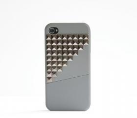 iPhone 4, 4S case - Color Block Stud - All Grey / Gunmetal Studs