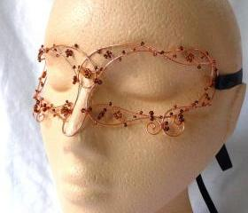 Ladies masquerade mask in copper, handmade