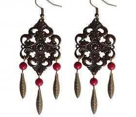 Boho Chic Bronze Feather and Red Coral Statement Dangle Earrings