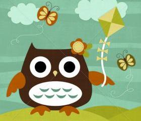 67R Retro Owl Flying Kite 6 x 6 Print