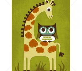 68R Retro Owl and Giraffe 5x7 Print