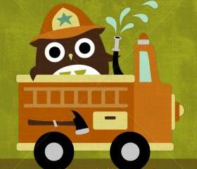 69R Retro Owl and Firetruck 6 x 6 Print
