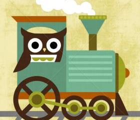 70R Retro Owl and Train 6 x 6 Print