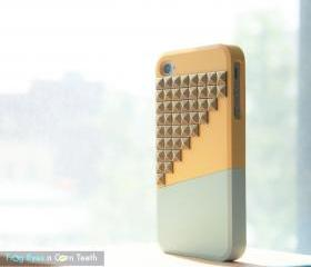 iPhone 4 case - Color Block Stud - Yellow / Mint / Bronze studs