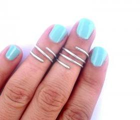 2 Above the Knuckle Rings - Wire Wrapped Above Knuckle Ring - Simple Silver Wrap Ring- Set of 2 by Tiny Box