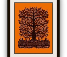Unique gift - Handmade Artful Papercut silhouette Art Work - Tree of joy