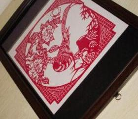 handmade Papercutting Work - Bird in flower