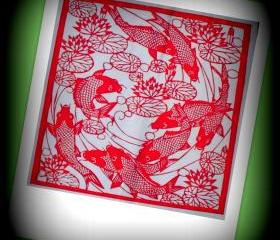 Handmade papercut in red - 8 Koi Japanese Fishes in lotus lake - best new year gift