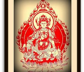 Red Guanyin Buddha - handmade silhouette paper cut - cut out Chinese Papercut