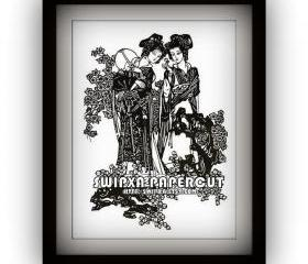 Two ancient chinese girls -handmade papercutting work