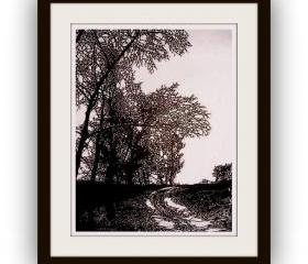 Sale - Best Gift - Hanmade Artful Papercut Work - Country Road