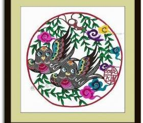 5 Dollar Off - Handcut papercut - Sparrow couple - in multicolor