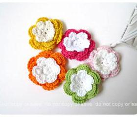 Colorful crochet flower 3 layer green pink, dark pink, orange and yellow for scrap booking, card making etc
