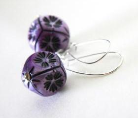 violet and black earrings - modern geometrical with flowers