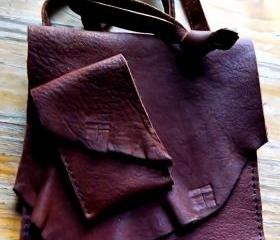 Hand Sewn Rustic Leather Cross Body Bag With Matched Card Holder