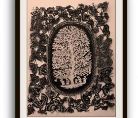 Sale - best gift Deal - Papercuts - cutouts - handcuts - silhouette - die cut - cut out - Butterfly and the tree