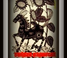 Handmade handicraft Papercut paper Art Work - horse and sunflower
