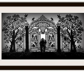 Handmade Papercutting cut out diecut silhouette Art Work - Gate of Happiness