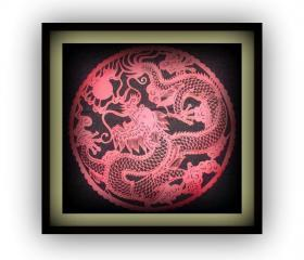 New year - year of dragon - Sale - Home amulet - Dragon Papercut silhouette cut out in red
