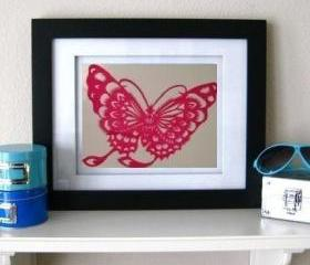 Spring Deal - handmade 10 Butterfly Paper cut out in red
