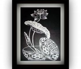 Spring Deal - Chinese handmade Die Cut Papercut - Lotus in a bowl