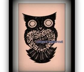 Unique Gift - handmade papercut work - Owl Family
