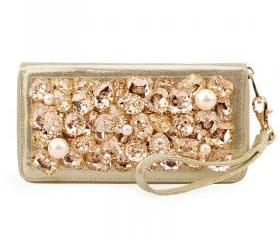 Pearls and RhinestoneLeather Clutch