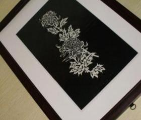 Chinese handmade die cut Papercut - chrysanthemum