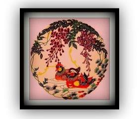 DEAL - Combined Listing - Handmade papercut - Mandarin duck couple / Koi fish - in multicolor