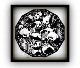 SALE - Handmade - Handcut papercut - Pandas in bamboos - black silhouette