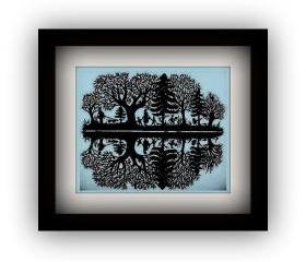 Limited edition - Handmade Papercutting Art Work - black papercut - Hunting - only one work