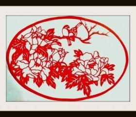 Handmade Papercutting Art silhouette Works - Bird couple in peony branch