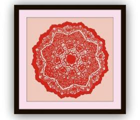 Unique GIFT - best for anyone - Handmade Artful Papercutting Work - Red Octagon