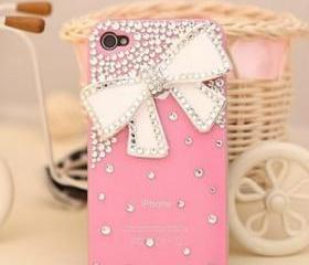 New Bling Sparkle White Bow White Rhinestones Pink iPhone 4/4S Case