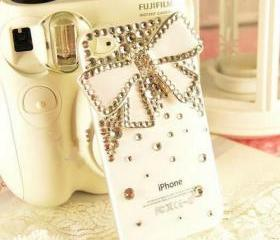 New Bling Sparkle White Bow White Rhinestones White iPhone 4/4S Case