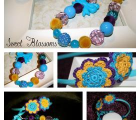 Crochet head band with matching bubblegum beads necklace